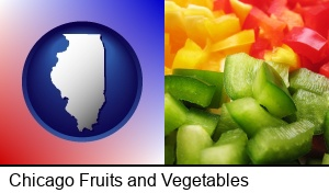 Chicago, Illinois - sliced and diced green, red, and yellow peppers