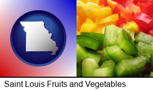 Saint Louis, Missouri - sliced and diced green, red, and yellow peppers