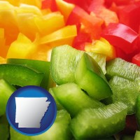 arkansas sliced and diced green, red, and yellow peppers