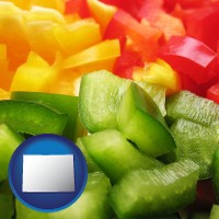 colorado map icon and sliced and diced green, red, and yellow peppers