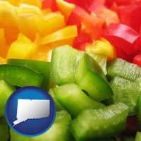 connecticut map icon and sliced and diced green, red, and yellow peppers