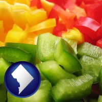 washington-dc sliced and diced green, red, and yellow peppers
