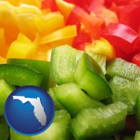 fl map icon and sliced and diced green, red, and yellow peppers