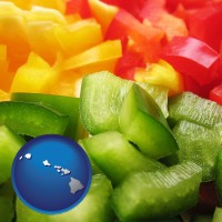 hi map icon and sliced and diced green, red, and yellow peppers