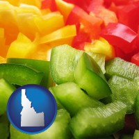 id map icon and sliced and diced green, red, and yellow peppers
