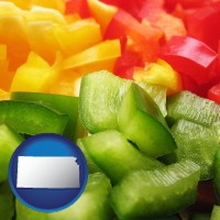 ks map icon and sliced and diced green, red, and yellow peppers