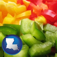 louisiana map icon and sliced and diced green, red, and yellow peppers