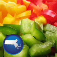 ma map icon and sliced and diced green, red, and yellow peppers