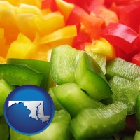 md map icon and sliced and diced green, red, and yellow peppers