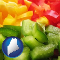 me map icon and sliced and diced green, red, and yellow peppers