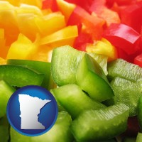 minnesota map icon and sliced and diced green, red, and yellow peppers