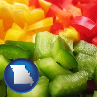 mo map icon and sliced and diced green, red, and yellow peppers