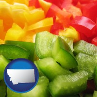 montana map icon and sliced and diced green, red, and yellow peppers