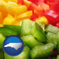 north-carolina sliced and diced green, red, and yellow peppers
