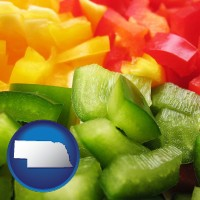 nebraska sliced and diced green, red, and yellow peppers