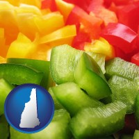 new-hampshire sliced and diced green, red, and yellow peppers