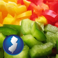 new-jersey map icon and sliced and diced green, red, and yellow peppers