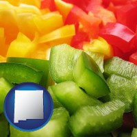 nm map icon and sliced and diced green, red, and yellow peppers