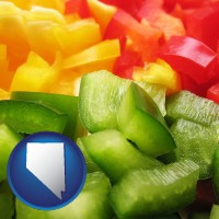 nevada sliced and diced green, red, and yellow peppers