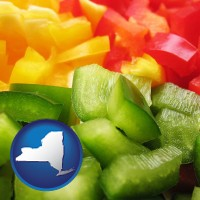 new-york sliced and diced green, red, and yellow peppers
