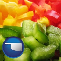 oklahoma map icon and sliced and diced green, red, and yellow peppers