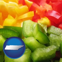 tennessee map icon and sliced and diced green, red, and yellow peppers