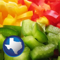 tx map icon and sliced and diced green, red, and yellow peppers
