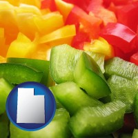 ut map icon and sliced and diced green, red, and yellow peppers