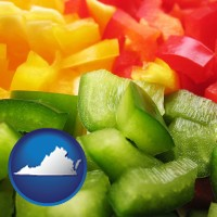 va map icon and sliced and diced green, red, and yellow peppers