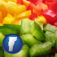 vermont map icon and sliced and diced green, red, and yellow peppers