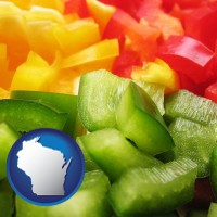 wi map icon and sliced and diced green, red, and yellow peppers